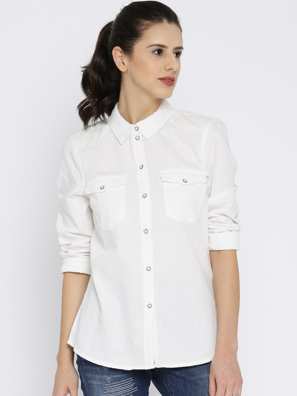 Buy Vero Moda Women White Slim Fit Solid Casual Denim Shirt - Shirts for  Women 1871179  1f012ffcc