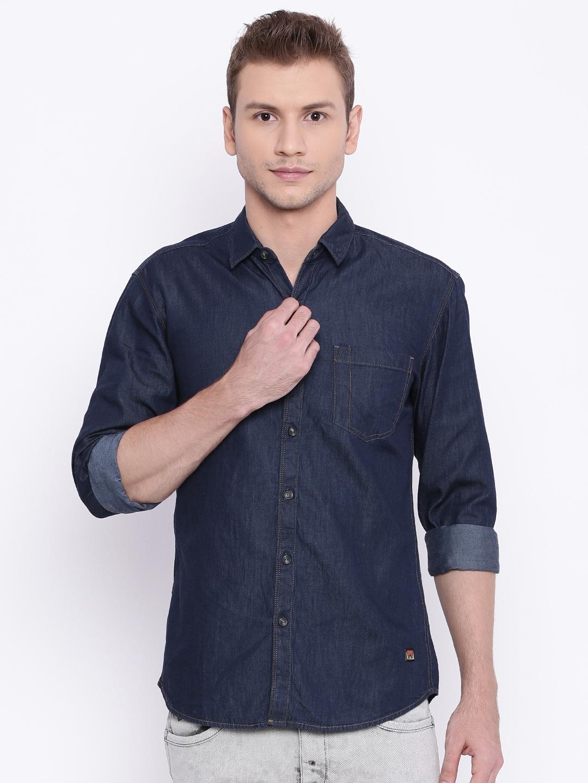 e00e7b804a2 Buy Wrangler Navy Blue Slim Fit Solid Casual Denim Shirt - Shirts ...