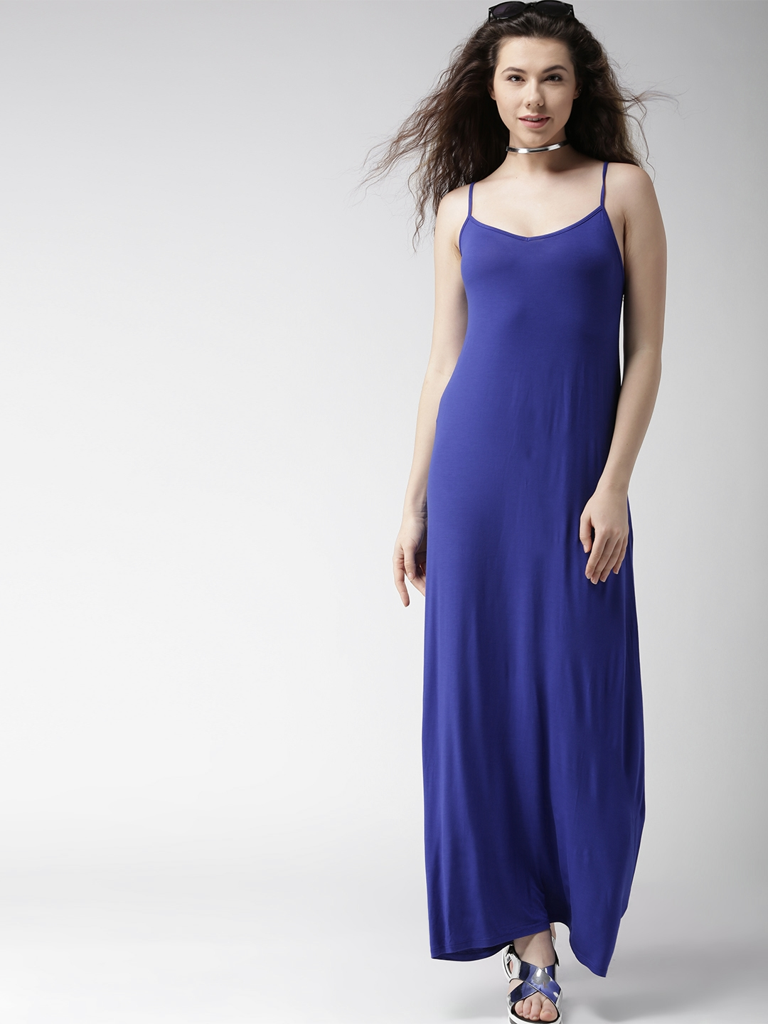 deca65d8d7 Buy FOREVER 21 Women Blue Solid Maxi Dress With Cut Outs - Dresses ...
