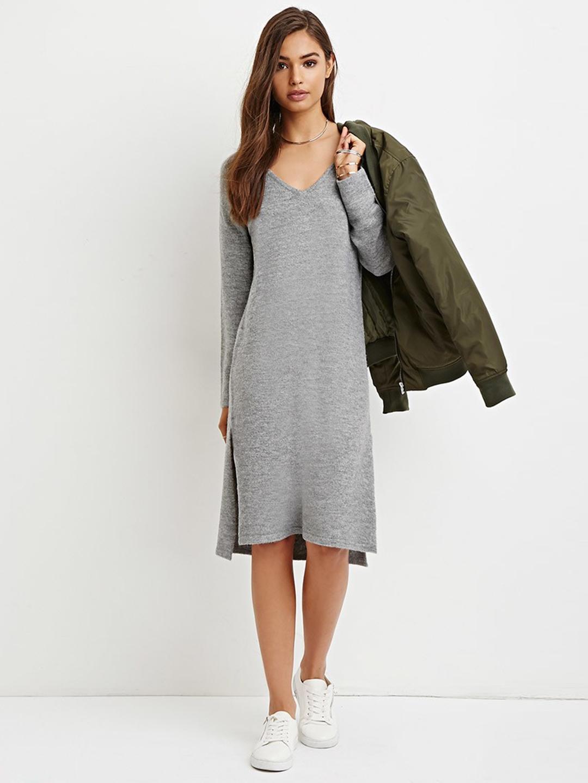 3e5b98ead3cb22 Buy FOREVER 21 Women Grey Melange Solid Sweater Dress - Dresses for ...