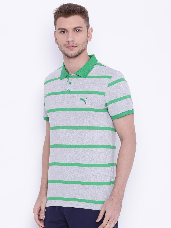 813ae359fbfa Buy Puma Men Grey Melange   Green Fun Summer Striped Polo T Shirt ...