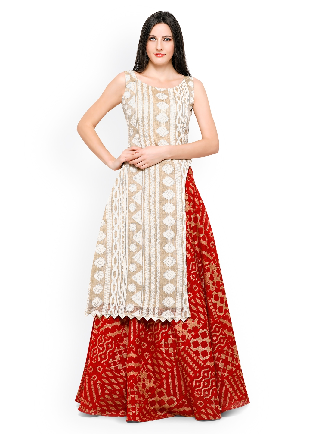 cec4f4aa955 Buy Inddus Beige   Red Banarasi Cotton Semi Stitched Lehenga Choli - Lehenga  Choli for Women 1879626