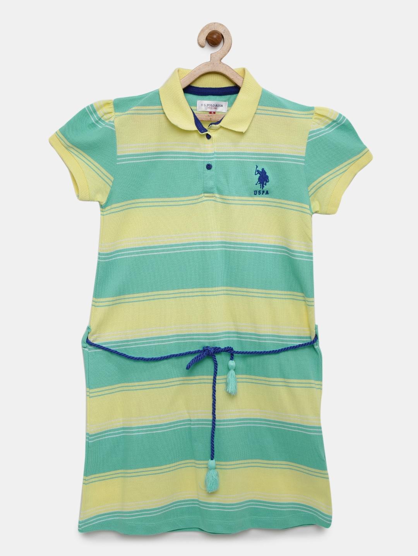 a6716b8ba1aa Buy U.S. Polo Assn. Kids Girls Sea Green Striped T Shirt Dress ...
