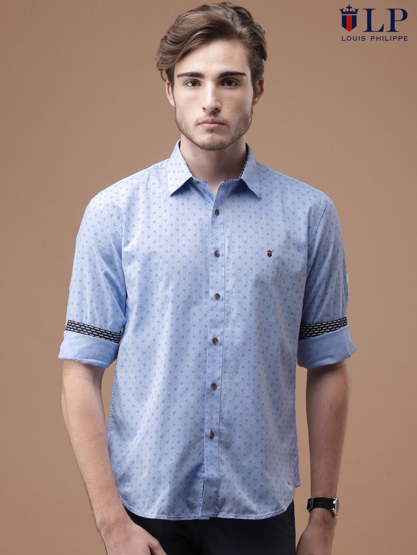 c5d0de2b Buy Louis Philippe Sport Men Blue Slim Fit Printed Casual Shirt ...
