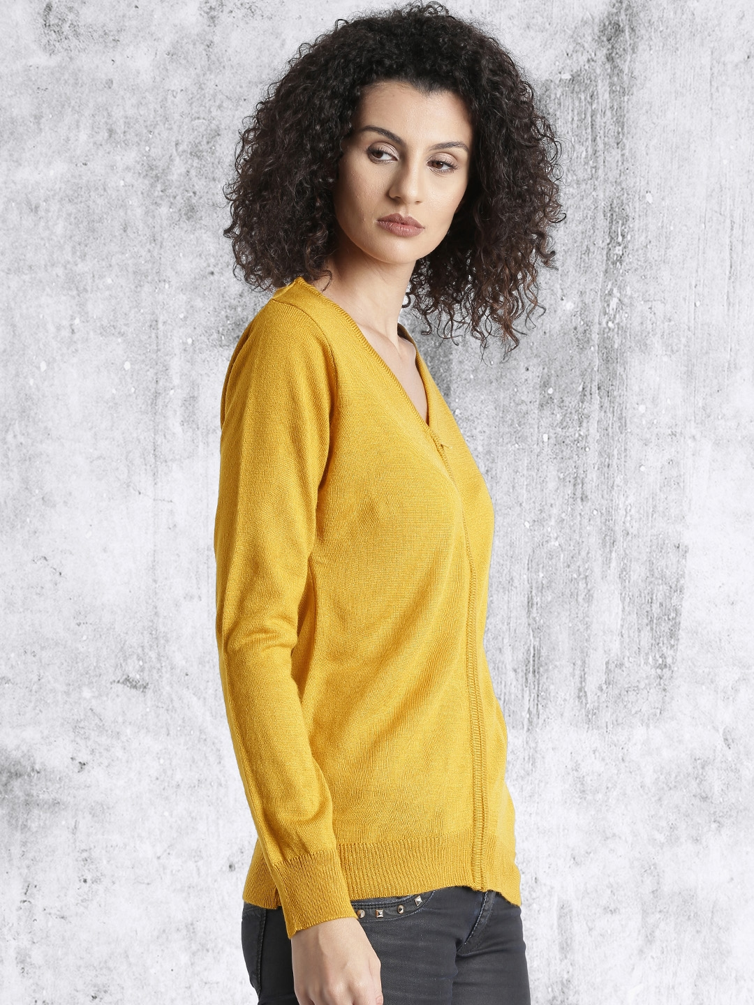 Buy Roadster Women Mustard Yellow Solid Cardigan Sweaters For