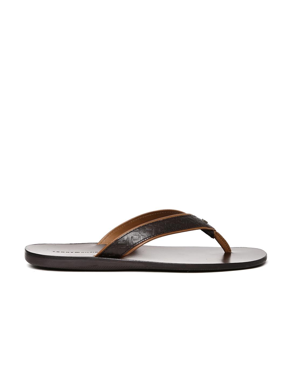 d5b699d940f Buy Tommy Hilfiger Men Brown Textured Leather Sandals - Sandals for ...