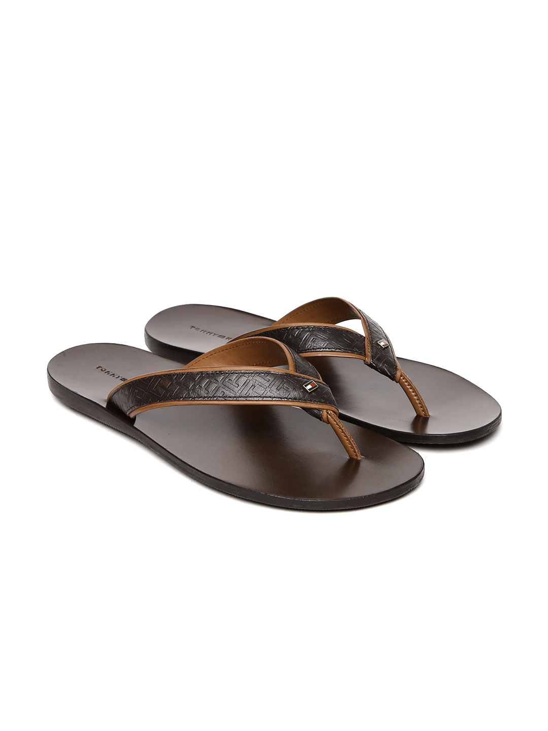 3acc7a277d1 Buy Tommy Hilfiger Men Brown Textured Leather Sandals - Sandals for ...