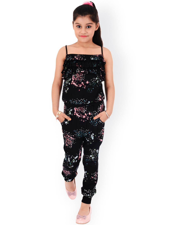 Buy Naughty Ninos Girls Black Floral Print Jumpsuit