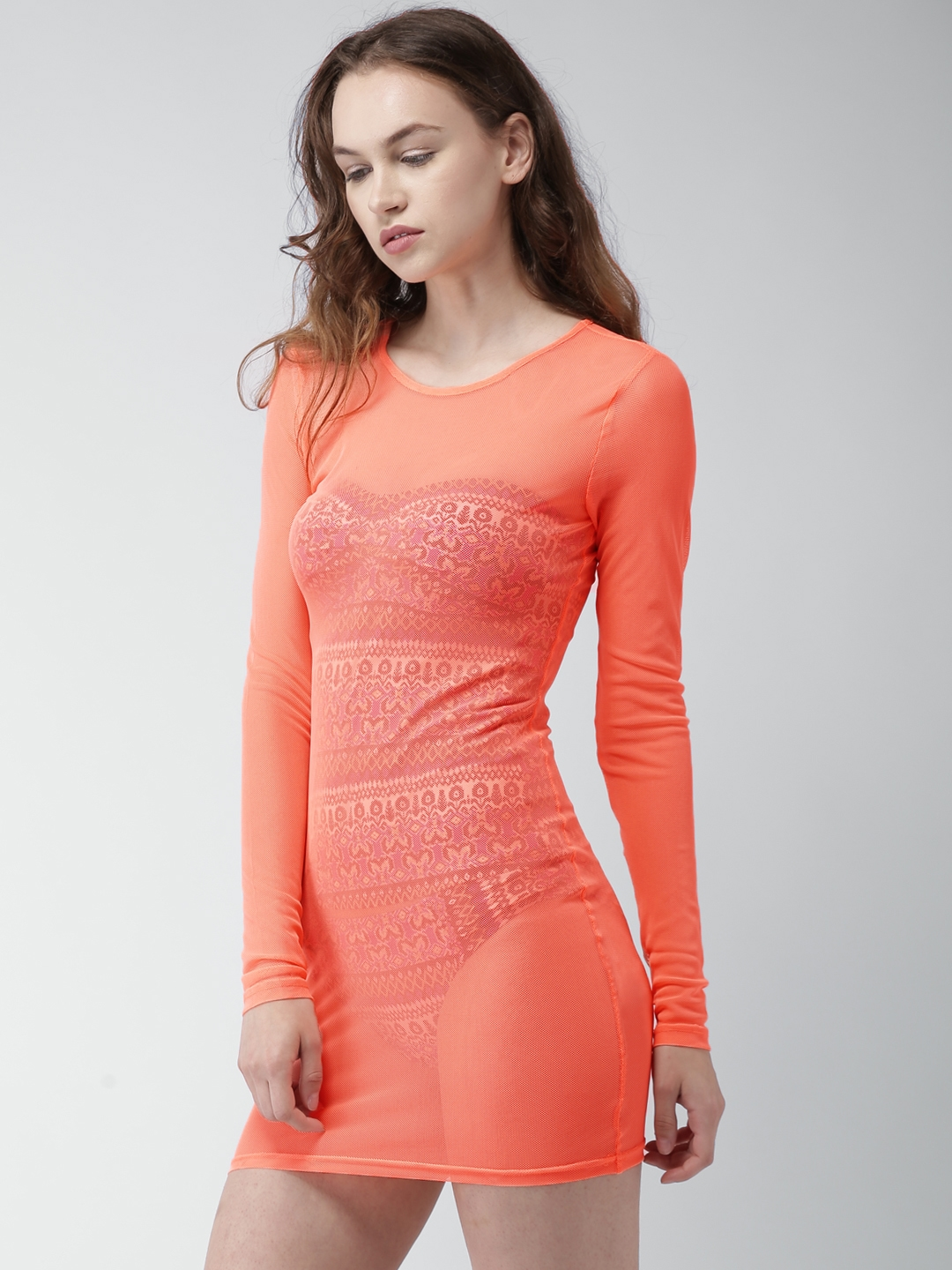 9972658f86 Buy FOREVER 21 Neon Coral Cover Up Net Dress 229180 - Swimwear for ...