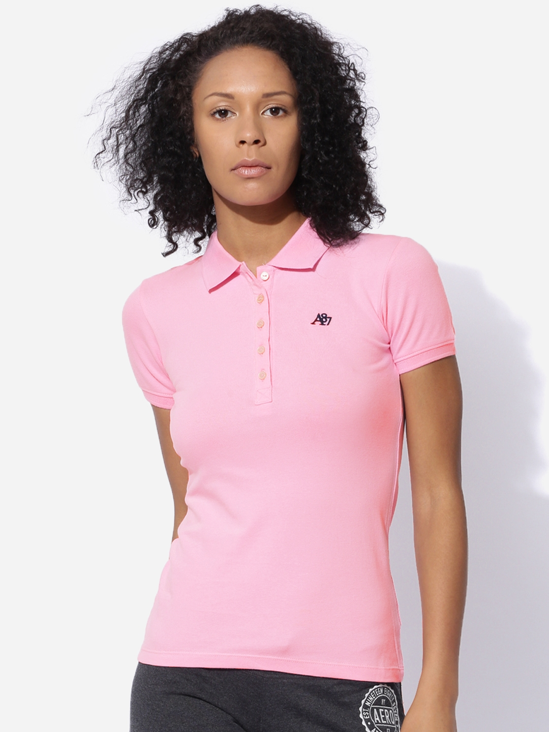 Aeropostale Women Pink Solid Polo T shirt