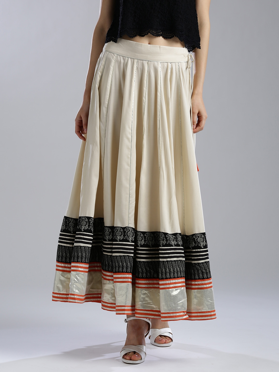 fbd861c6c1 Buy W Beige Printed Detail Maxi Flared Skirt - Skirts for Women ...