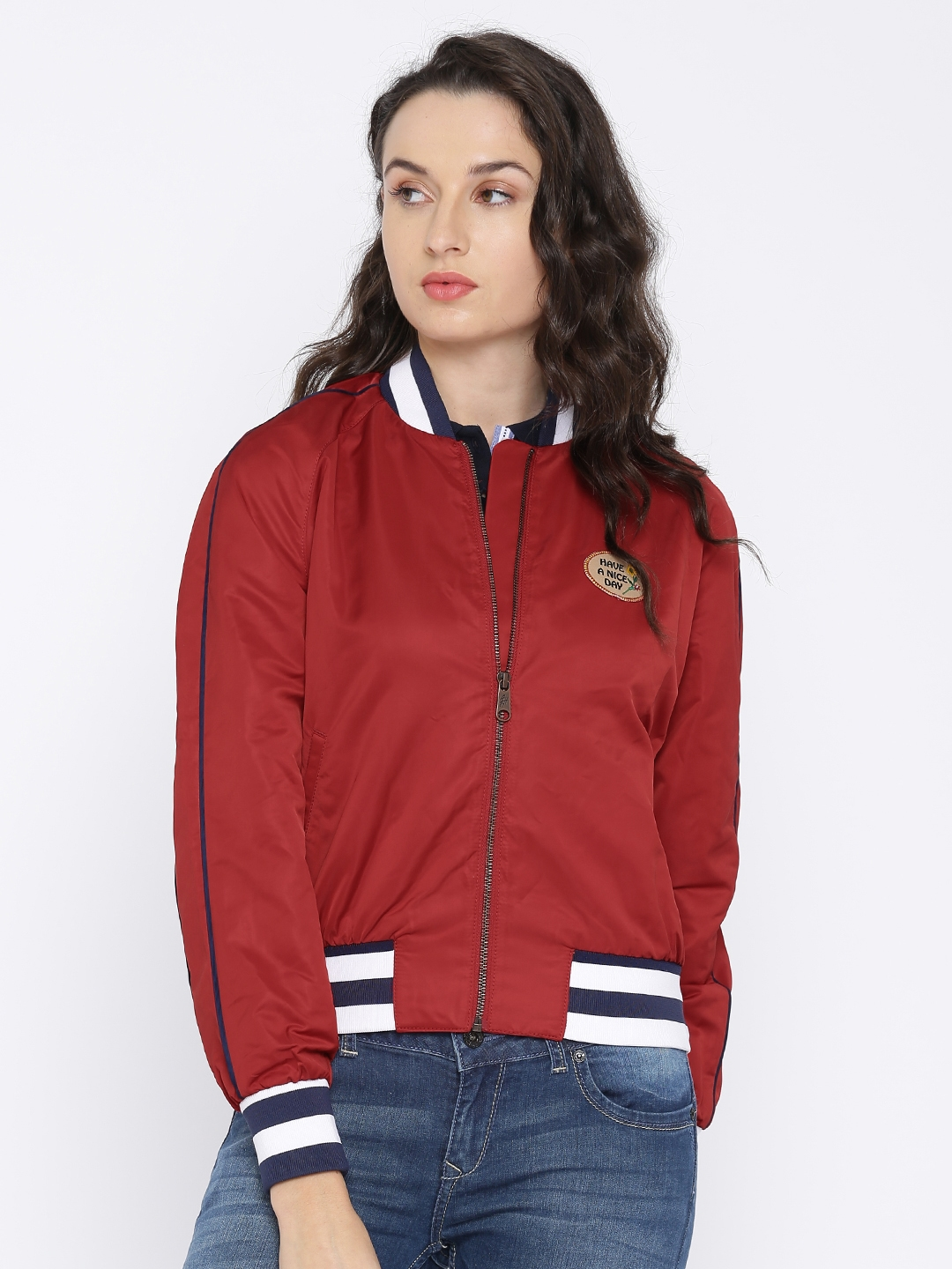 Buy Tommy Hilfiger Women Red Solid Bomber Jackets For Women