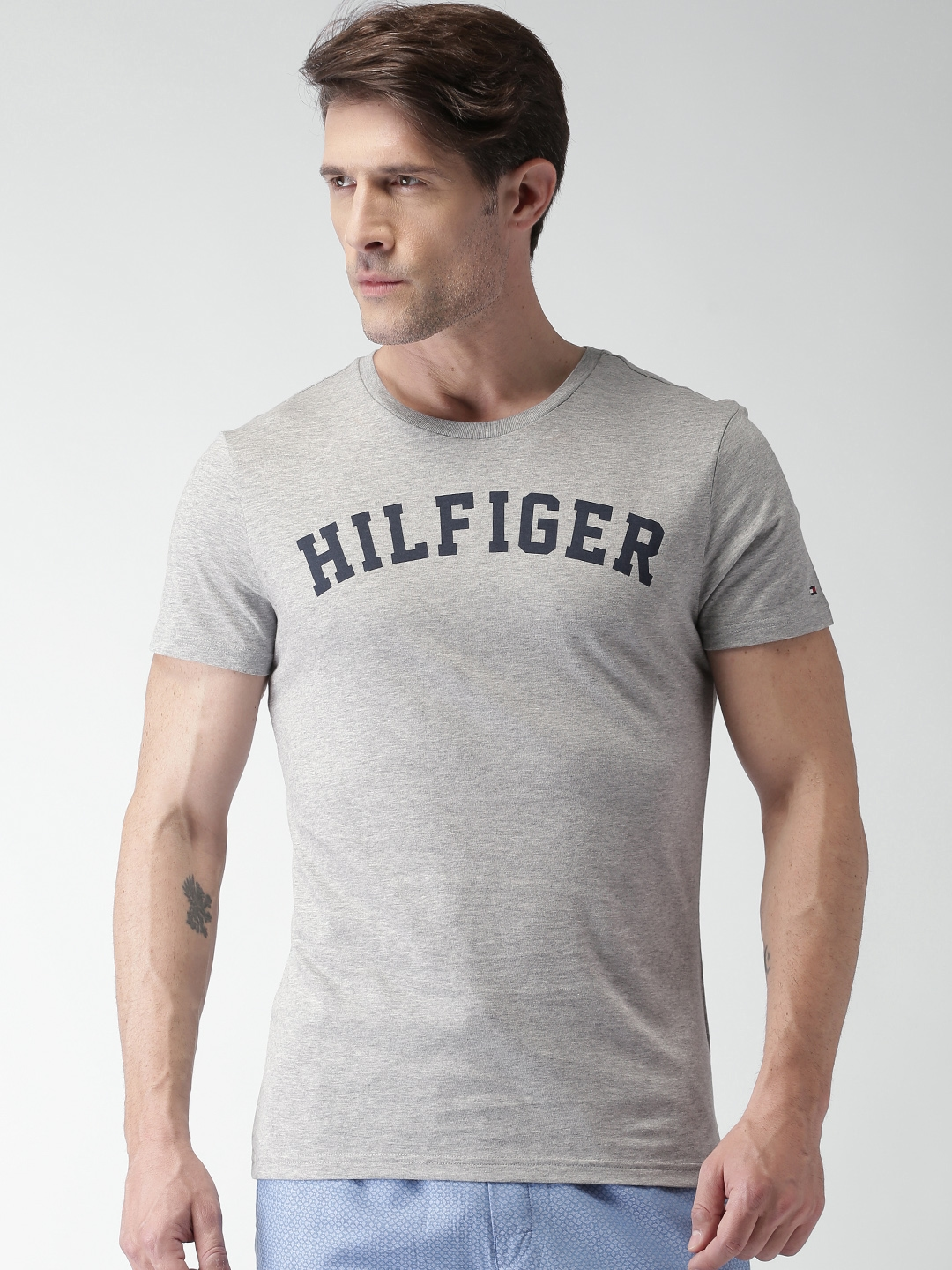 615550b0b94b Buy Tommy Hilfiger Men Grey Melange Printed Round Neck T Shirt ...