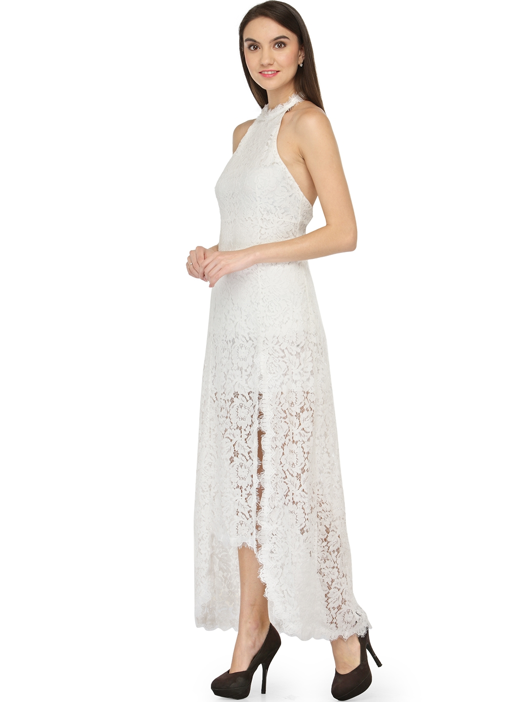 White Lace High Low Dress