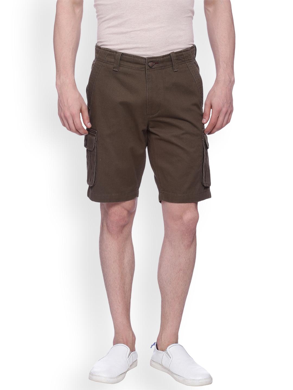 Basics Men Olive Brown Solid Cargo Shorts