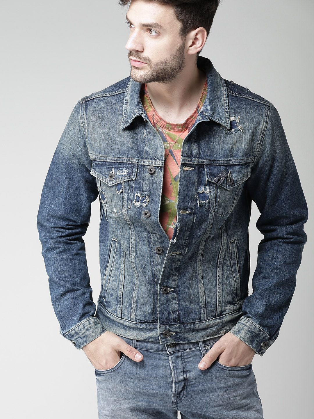 Buy Scotch & Soda Men Blue Washed Denim Jacket - Jackets for Men ...