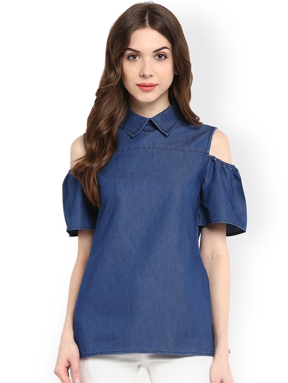 c75326abc9f03 Buy StyleStone Women Blue Denim Cold Shoulder Top - Tops for Women ...