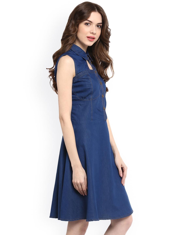 6ae41981cdb Buy StyleStone Women Blue Denim Solid Fit And Flare Dress - Dresses ...