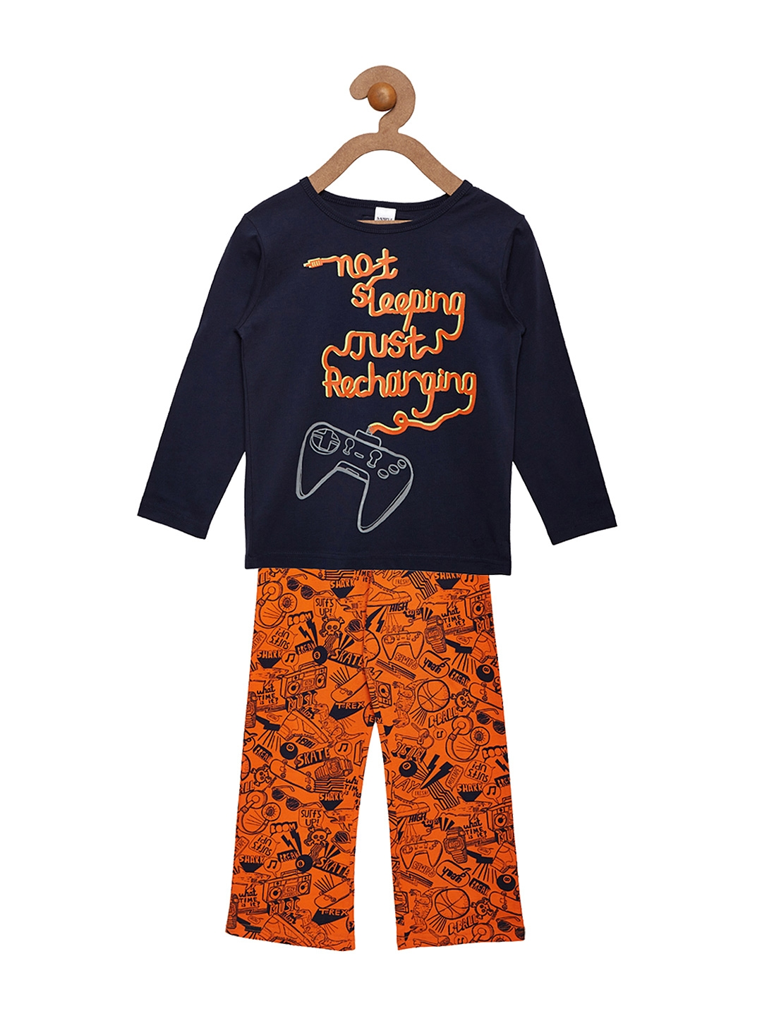 e8d9ed885df Buy Pepito Girls Navy   Orange Printed Night Suit AS 6128 - Night ...