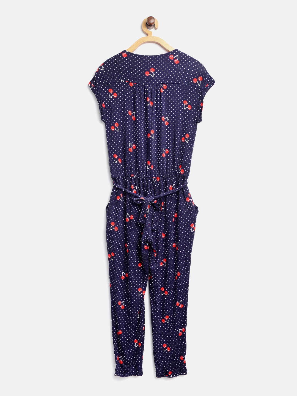 7bd0ca3d410 Buy Tommy Hilfiger Girls Navy Blue   White Printed Basic Jumpsuit ...