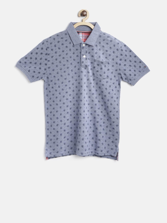 48a1dc9b Buy Tommy Hilfiger Boys Blue Paisley Print Polo Collar T Shirt ...