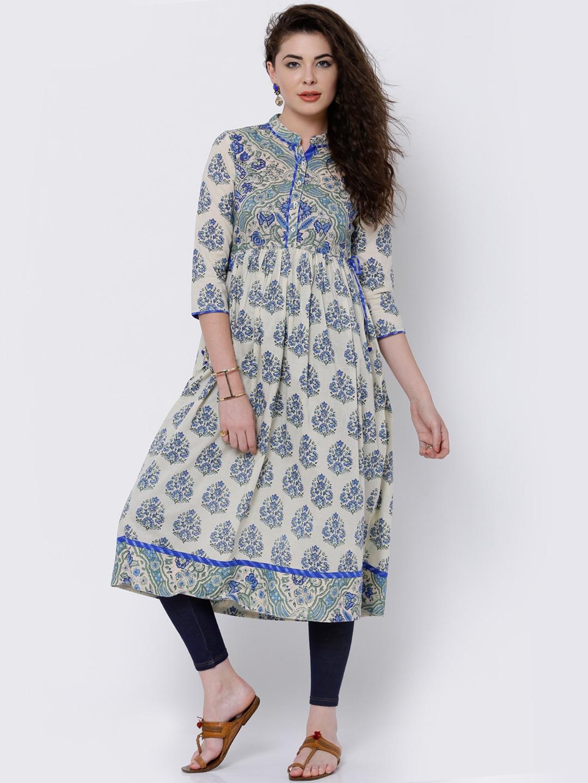 e6638a32e36 Buy Vishudh Women Off White   Blue Printed Anarkali Kurta - Kurtas ...