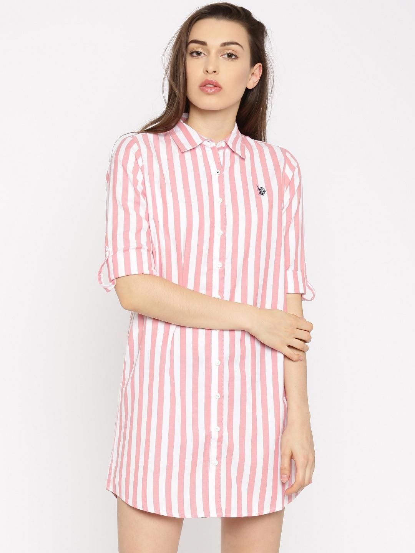 e3a0c4e3cec Buy U.S. Polo Assn. Women Pink Striped Shirt Dress - Dresses for ...