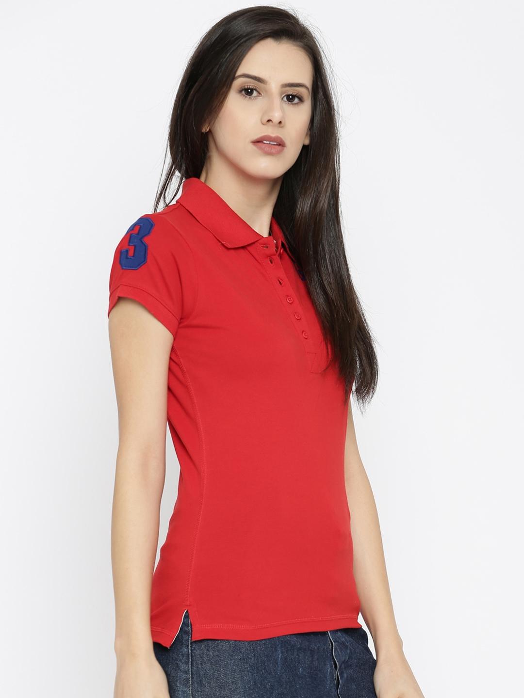 6204e7b99711 Buy U.S. Polo Assn. Women Women Red Solid Polo T Shirt - Tshirts for ...