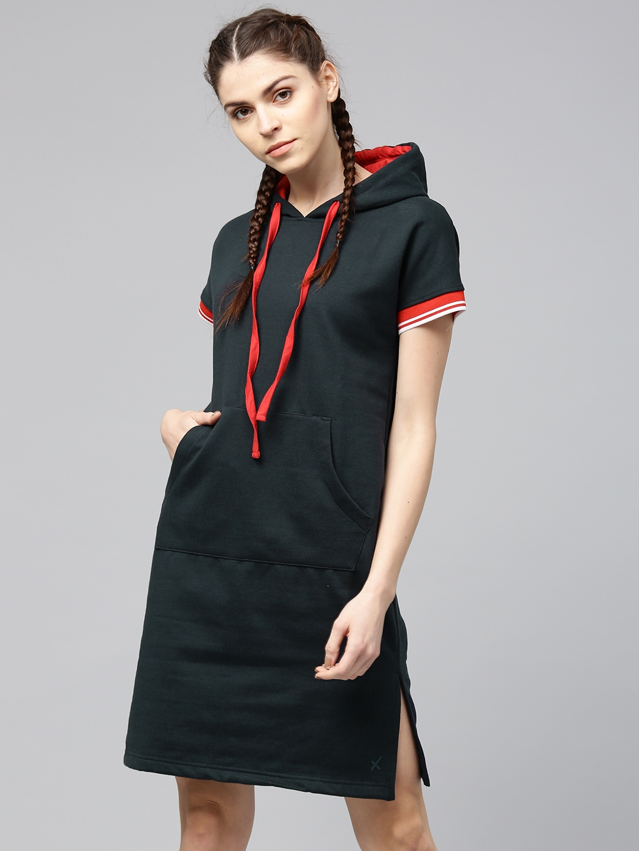 78cbe2d7d0 Buy HRX By Hrithik Roshan Women Navy Solid Sweatshirt Dress ...