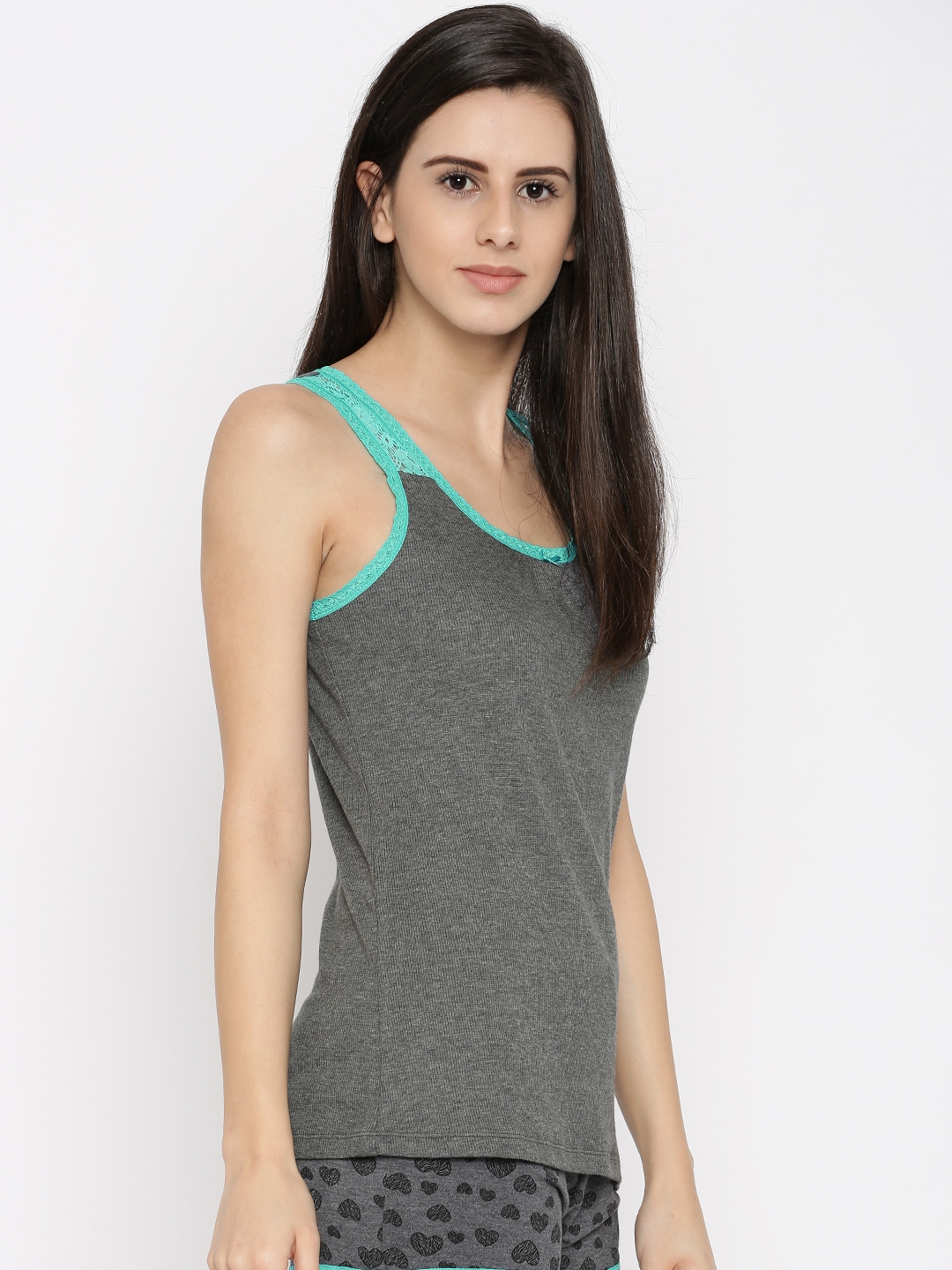 4dfe5282f5effe Buy Jockey Women Charcoal Grey Solid Lounge Tank Top - Lounge ...