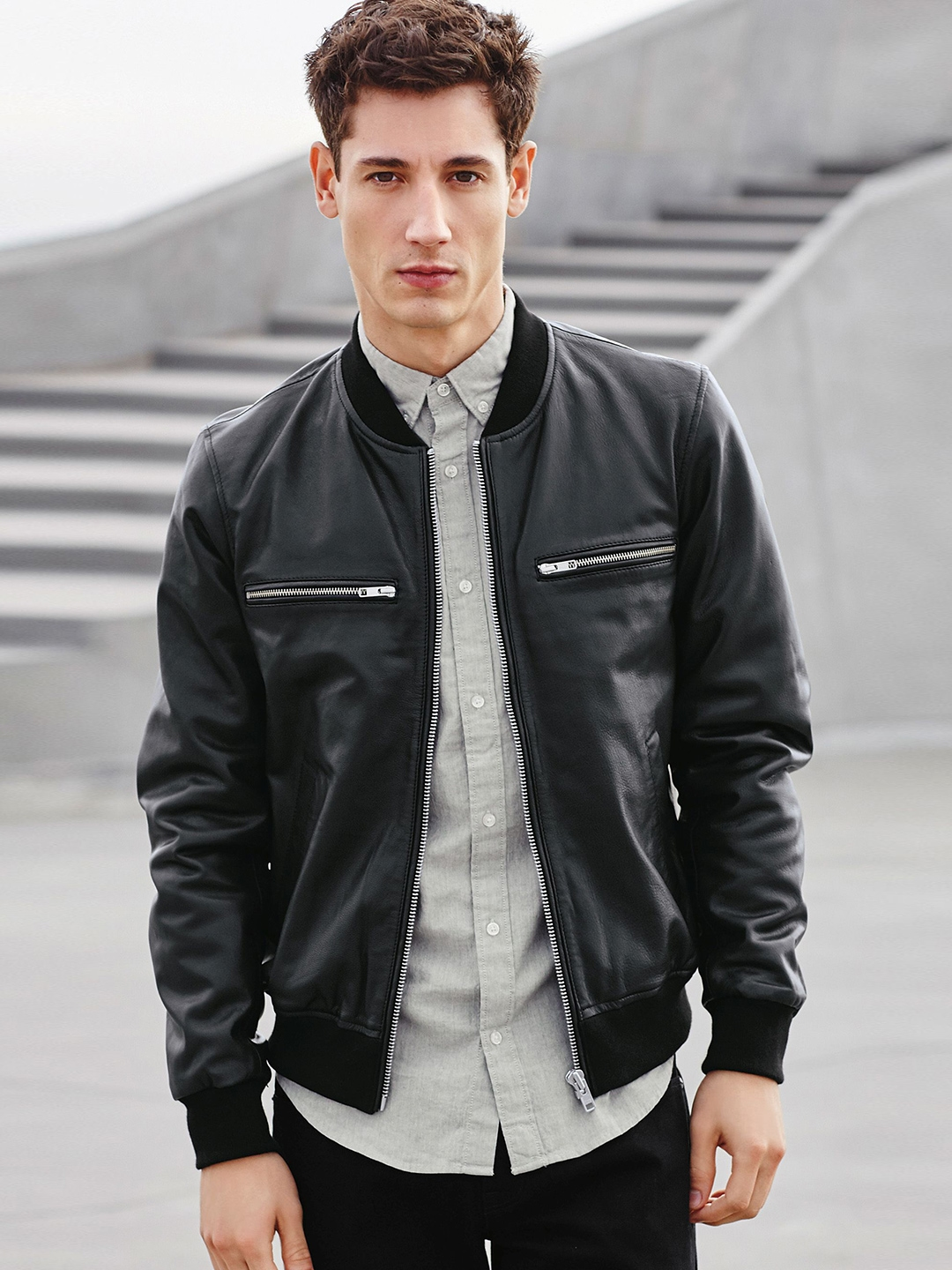 Buy Next Men Black Solid Leather Bomber Jacket - Jackets for Men ...