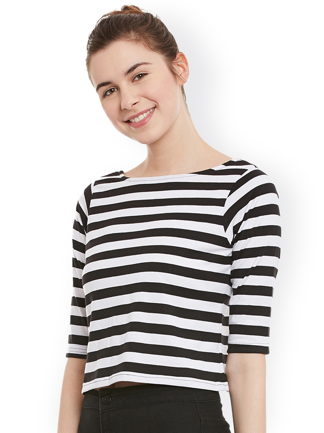 93b0dc2d Buy Miss Chase Women Black & White Striped Crop Top - Tops for Women ...
