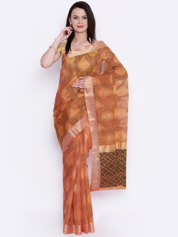The Chennai Silks Peach-Coloured Woven Design Silk Cotton Handloom Saree