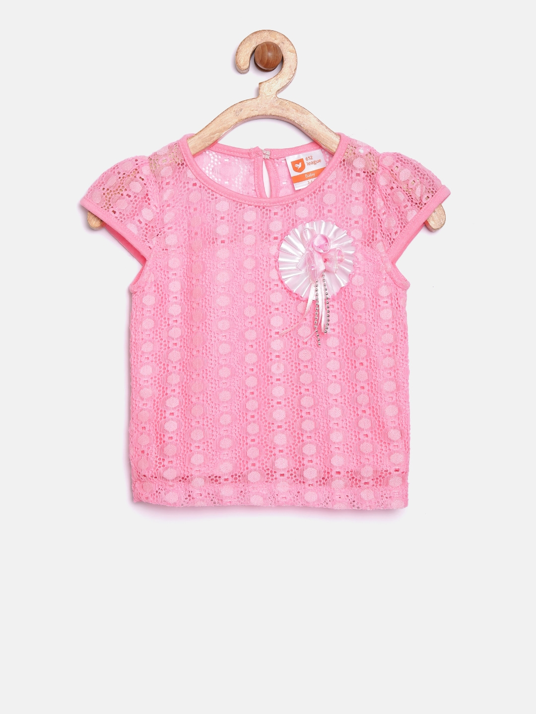 6f85fe46fc0e0a Buy 612 League Infant Girls Pink Lace Top - Tops for Girls 1901867 ...