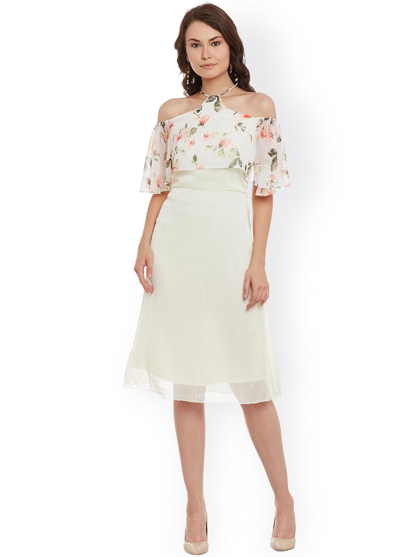 e99994bd02a7 Buy Athena Women Light Yellow Printed A Line Dress - Dresses for ...