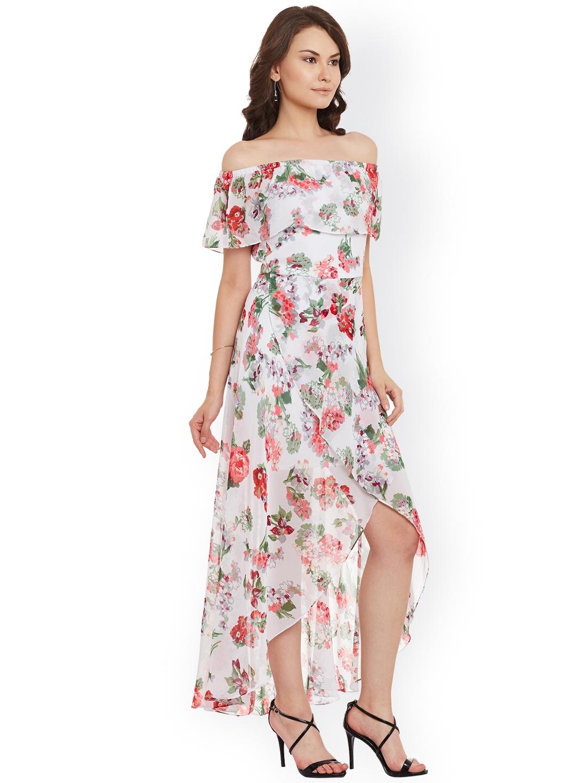 0bd252048af4 Buy Athena Women White   Pink Printed Off Shoulder Maxi Dress ...