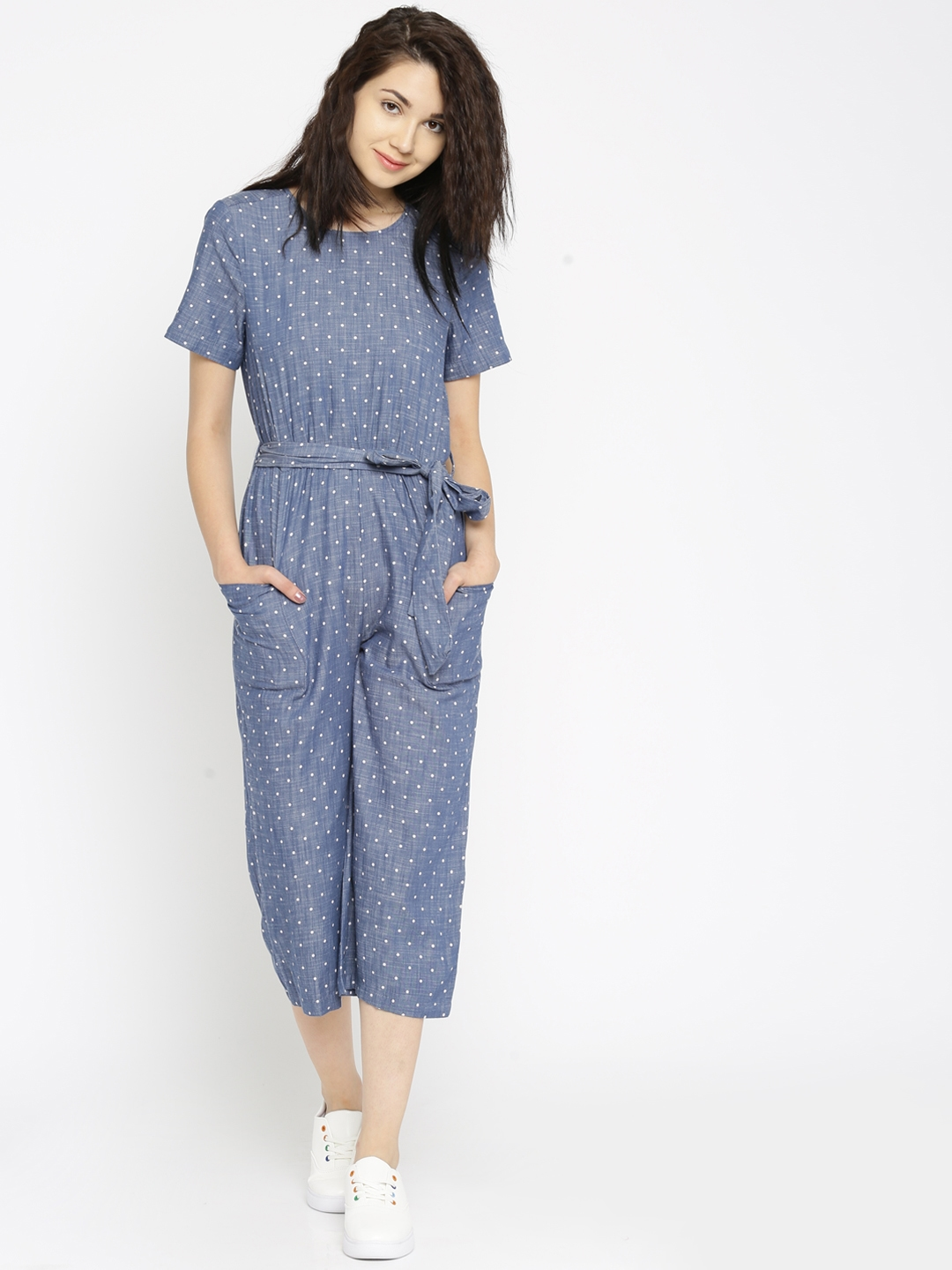 buy vero moda blue chambray polka dot print jumpsuit jumpsuit for women myntra. Black Bedroom Furniture Sets. Home Design Ideas