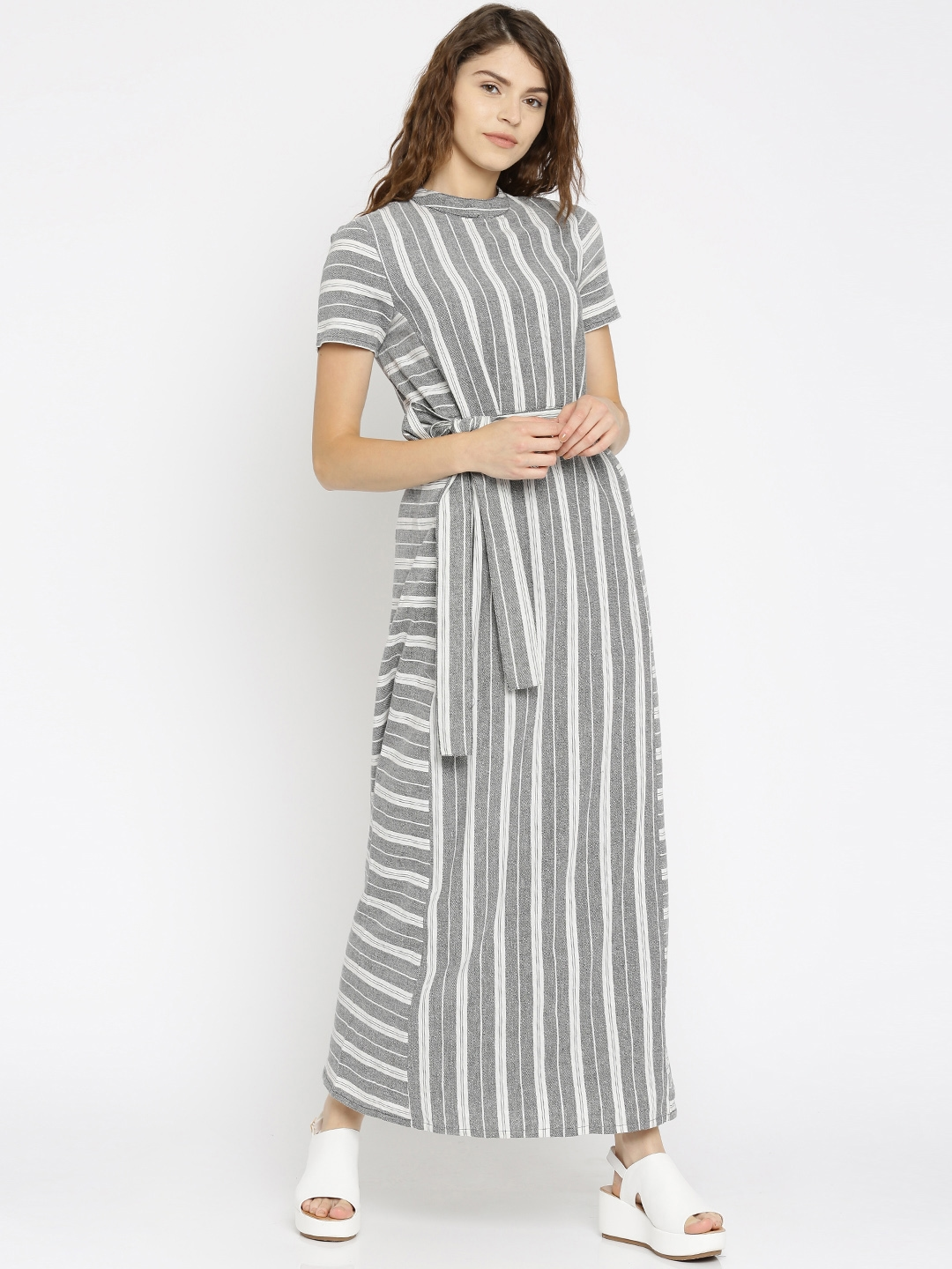 150a32310792 Buy Vero Moda Women Grey   White Self Design Maxi Dress - Dresses ...