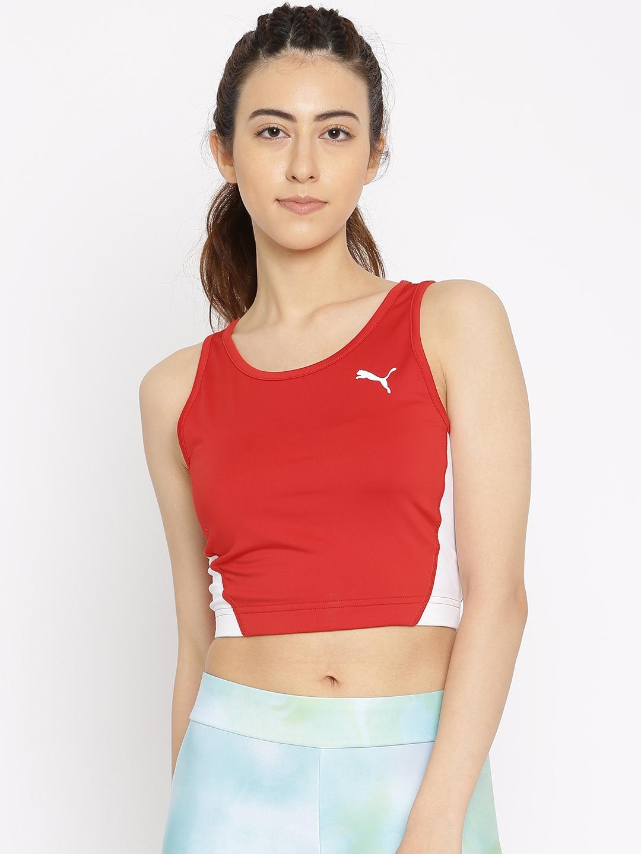 334e5b4e80a Buy Puma Women Red Cross The Line DryCELL Crop Top - Tops for Women ...