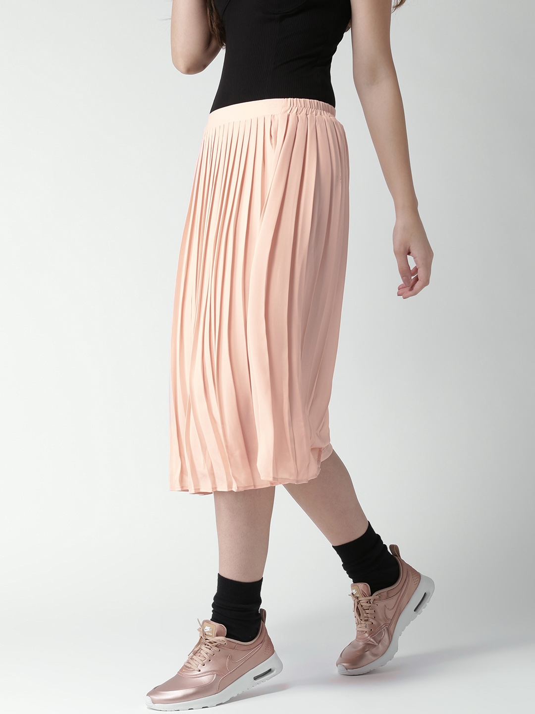 8513c8f3c2 Buy FOREVER 21 Peach Coloured Midi Flared Skirt With Accordion ...