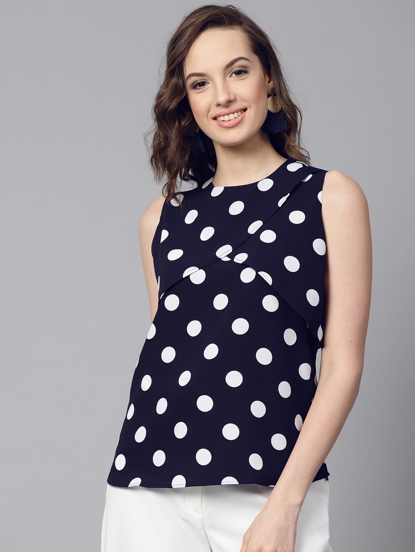 80a7e8c1cae610 Buy SASSAFRAS Women Black Polka Dot Print Top - Tops for Women ...