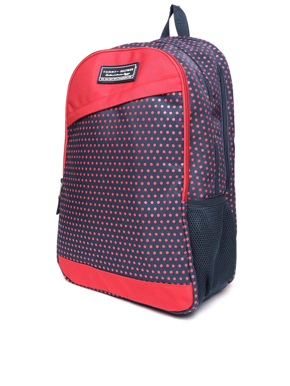 86f58a4cf246 Buy Tommy Hilfiger Unisex Navy Blue   Red Dot Print Backpack ...