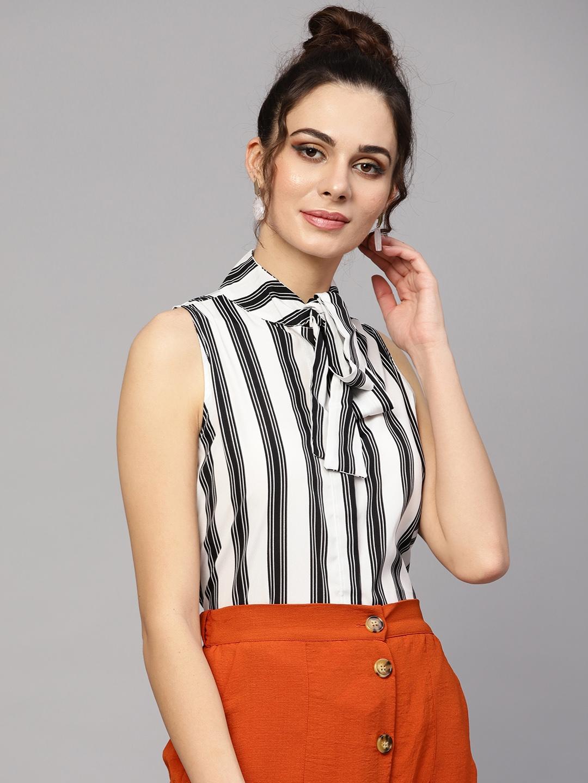 SASSAFRAS Women White   Black Striped Top