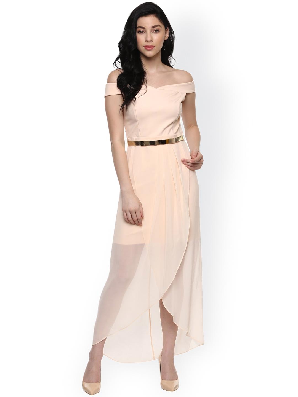 873162834c8b Buy Forever New Women Cream Coloured Sheer Bardot Solid Maxi Dress ...