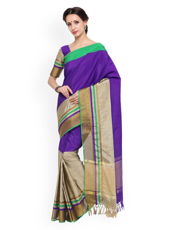 52a68b512321ea Buy Bhelpuri Purple   Beige Silk Blend Woven Design Tussar Saree ...