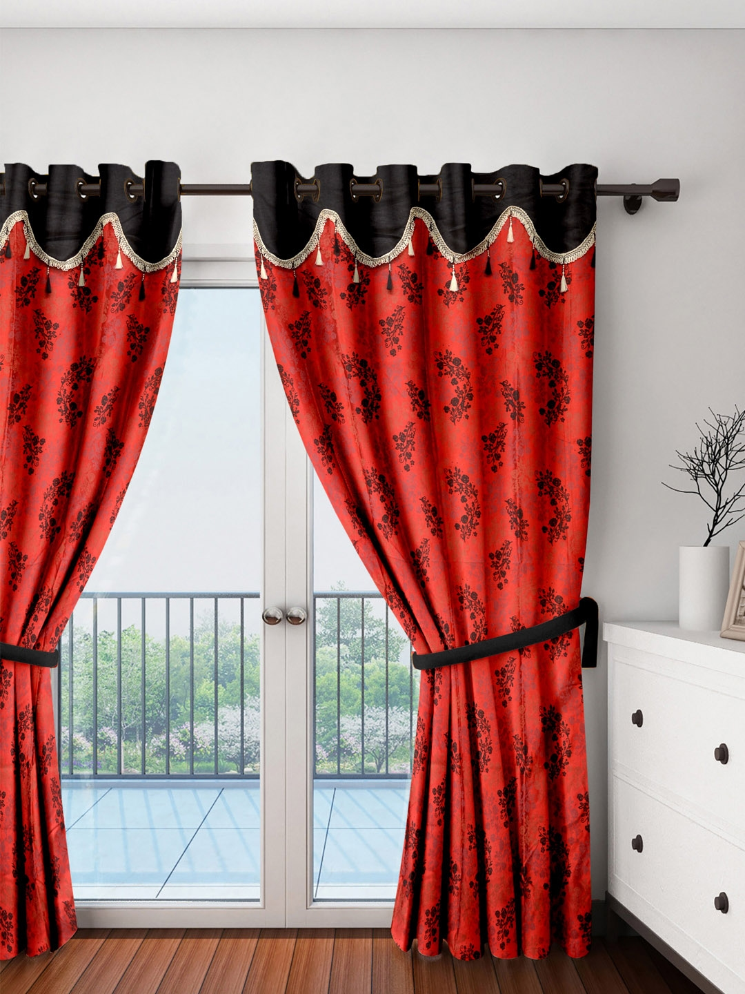 Buy Cortina Set Of 2 Red & Black Printed Door Curtain - Curtains And Sheers  for Unisex 1912926   Myntra