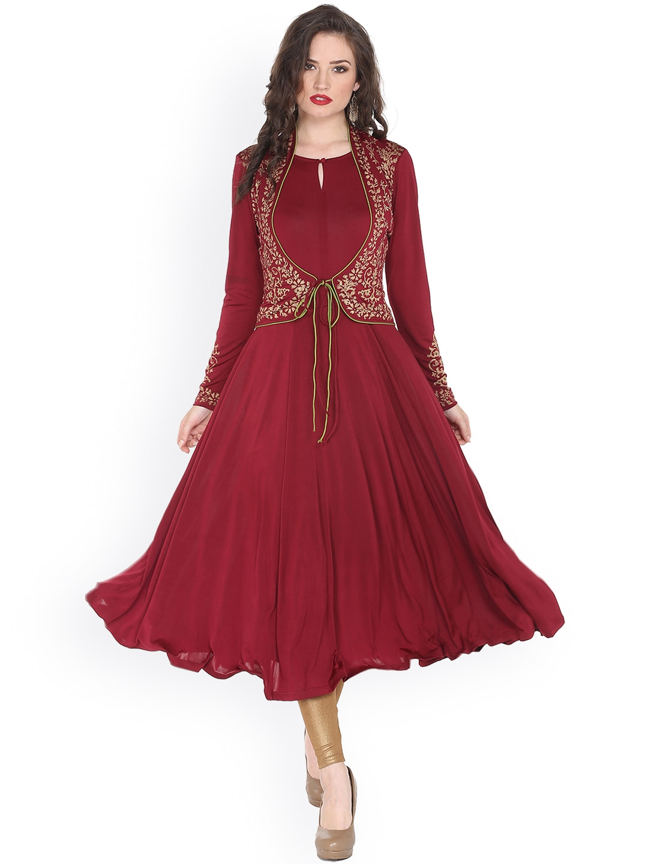 2753968f8a Buy Ira Soleil Women Maroon Printed Anarkali Kurta - Kurtas for ...