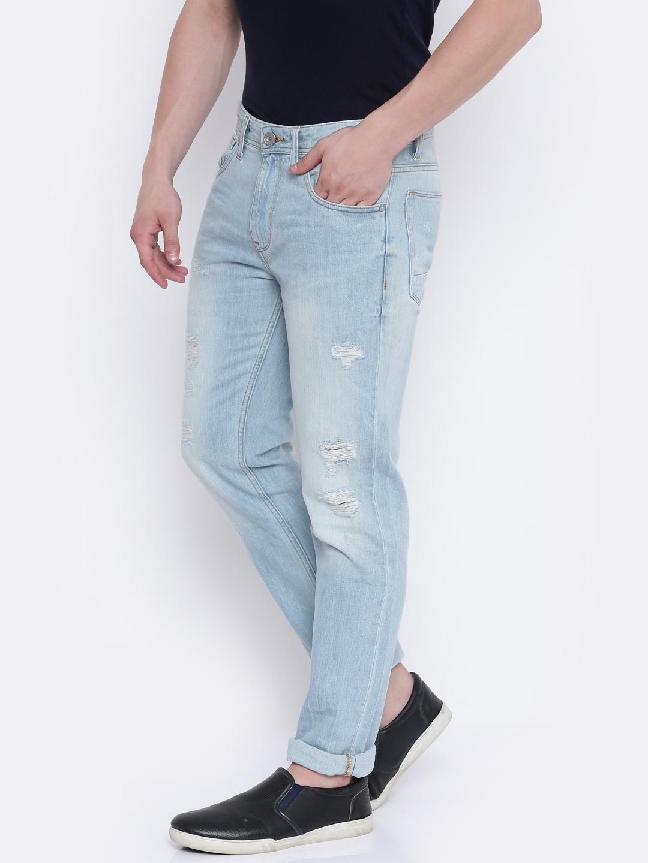 0c80eb8b5cc Buy Voi Jeans Men Blue Borris Slim Fit Mid Rise Mildly Distressed ...