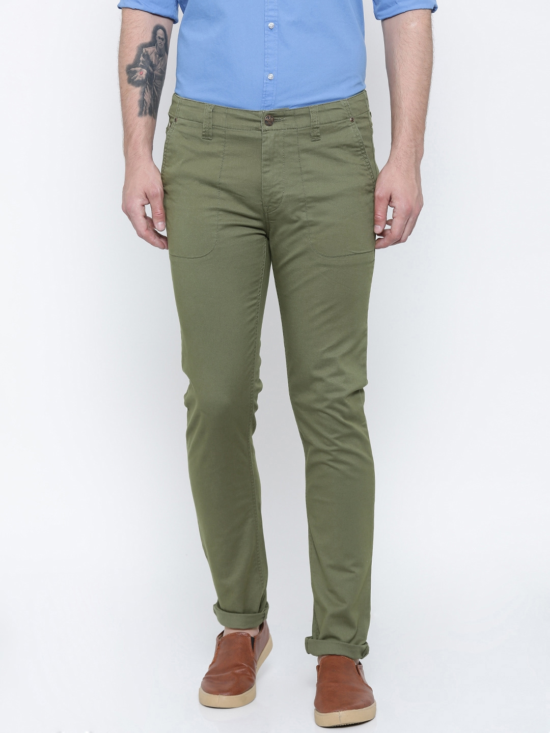 799178f6 Buy Lee Men Olive Green Slim Fit Solid Chino Trousers - Trousers for ...