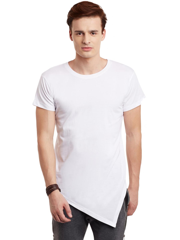FUGAZEE Men White Solid Slim Fit Round Neck T shirt